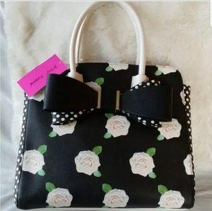 Betsey Johnson Floral Bow Satchel Bag NEW